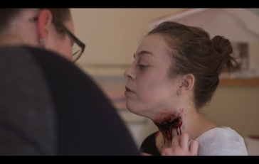 Makeup application on Rodeax Ltd.'s Bloodchild. Also shown: Katie Johnson (Makeup Artist) Photo by: Mark Levien