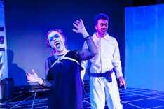 Production shot of 'Summer Nights in Space' by Henry Carpenter at the 2017 VAULT Festival. Also shown: Matthew Jacobs Morgan Photo by: Lidia Crisafulli