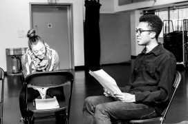 Rehearsal shot of 'Summer Nights in Space' by Henry Carpenter Also shown: Matthew Jacobs Morgan Photo by: Lidia Crisafulli